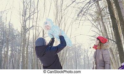sien, hiver, parc, ciel, père, slowmotion, fils, jeter