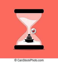 sien, horloge bureau, intérieur, travail, dépêcher, sable, deadline., homme, représenter, ou, sablier