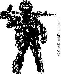 sien, illustration., soldat, assaut, vecteur, tenue, fusil, shoulder.