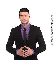 sien, isolé, formalwear, jeune regarder, confiant, quoique, appareil photo, businessman., tenant mains, blanc, homme, agrafé