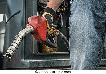 sien, lance, main, pompe, trucker, diesel