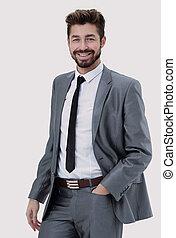 sien, mains, longueur, poches, moitié, portrait, homme affaires