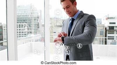 sien, montre, numérique, utilisation, 4k, homme affaires