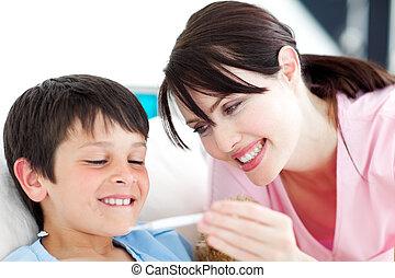 sien, patient, sourire, thermomètre, regarder, infirmière