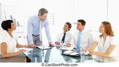 sien, personnel, homme affaires, d, parler