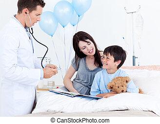sien, peu, attentif, docteur, conversation, mère, garçon