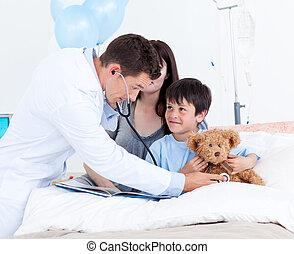 sien, peu, attentif, docteur, mère, garçon, jouer