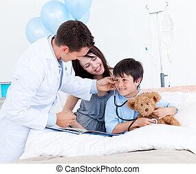 sien, peu, docteur, mère, charmer, garçon, jouer