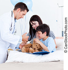 sien, peu, docteur, mère, garçon, jouer, songeur