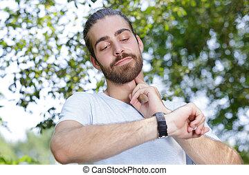 sien, regarder, montre, sports, homme