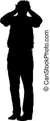 sien, silhouettes, illustration, derrière, vecteur, noir, tenant mains, head., homme