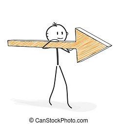 sien, stickman, figure, -, crosse, icône flèche, dessin animé, shoulder.