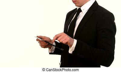 sien, téléphone, utilisation, homme affaires, blanc, intelligent