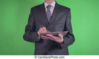 sien, tablette, chroma, clã©, homme affaires, utilisation