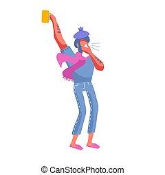sien, tasse, avoir, dessin animé, humain, moderne, boisson, glace, écharpe, dehors, bakcground., mouchoir, type, blanc, cold., grande tasse, chaud rose, illustration, cintrage, plat, vecteur, mâle, head., homme, caractère