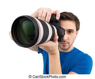 sien, tenue, isolé, jeune, confiant, quoique, appareil photo, appareil-photo., mains, concentrer, blanc, homme