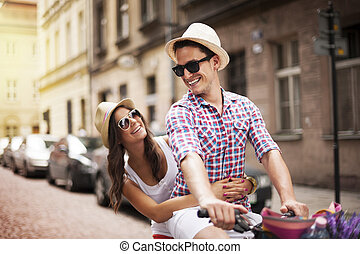 sien, vélo, prendre, petite amie, homme, étagère, beau