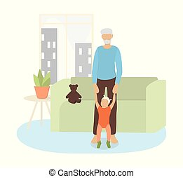 sien, vecteur, illustration, granddaughter., grand-père, peu