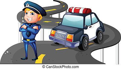 sien, voiture reconnaissance, milieu, police, route
