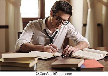 sien, work., séance, écrivain, jeune, écriture, sketchpad, quelque chose, table, beau