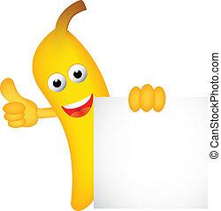 sig, dessin animé, banane, vide, rigolote