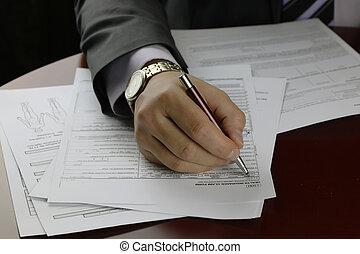 signé, main, assurance