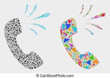 signal, téléphone, vecteur, triangles, mosaïque, icône