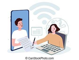 signature, femme, papier, demander, signe, écran, document, smartphone, ordinateur portable, dessin animé, homme, style, plat, numérique, concept