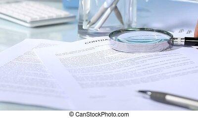 signature, main, regarder, contrat