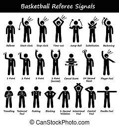 signaux, basket-ball, arbitres, main