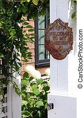 signe, accueil, jardin, mon