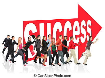 signe, affaires gens, themed, reussite, collage, course, suivre, flèche