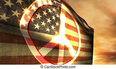 signe, américain, usa, 1179, drapeau, paix