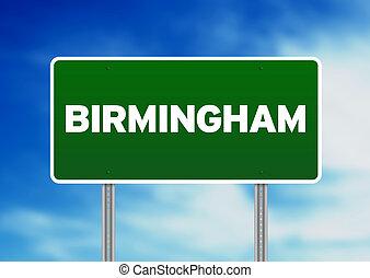 signe, angleterre, route, -, vert, birmingham