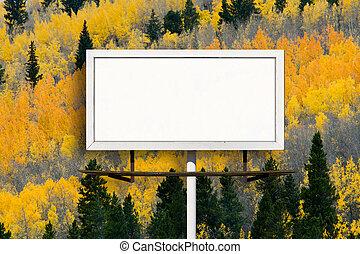 signe, arbre aspen, panneau affichage, automne, vide, forêt