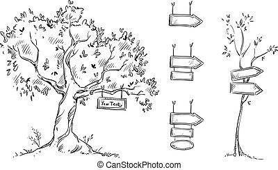 signe, arbre, illustration, main, vecteur, dessiné, signes