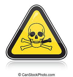 signe., attention, triangulaire, jaune, poison., avertissement, toxique