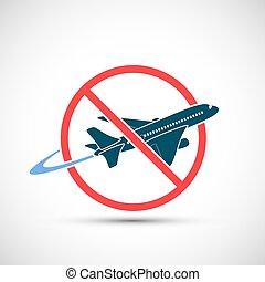 signe, ban., icône, voyage, avertissement, avion