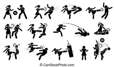 signe, battement, femme homme, symbols., figure, crosse