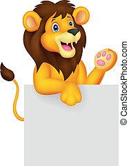 signe blanc, lion, dessin animé