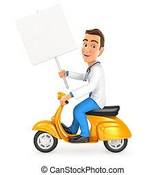 signe blanc, scooter, équitation, docteur, 3d, planche