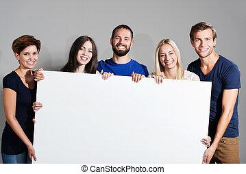 signe blanc, tenue, equipe affaires