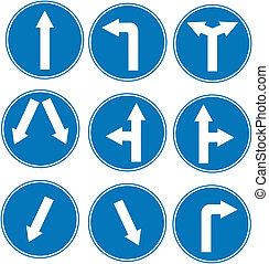 signe bleu, direction, trafic