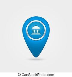 signe, bleu, icône, vecteur, emplacement, banque