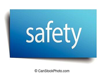 signe bleu, papier, sécurité, fond, blanc