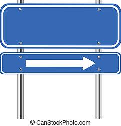 signe bleu, trafic, flèche, vide, blanc
