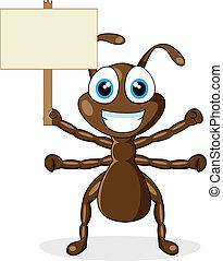 signe, bois, mignon, brun, fourmi