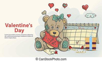 signe, carte, tenue, amour, jour, calendrier, conception, séance, teddy, girl, jouet, style, vous, griffonnage, suivant, ours, valentines, salutation, childrens, illustration