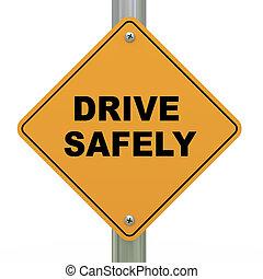 signe, conduire, sans risque, route, 3d