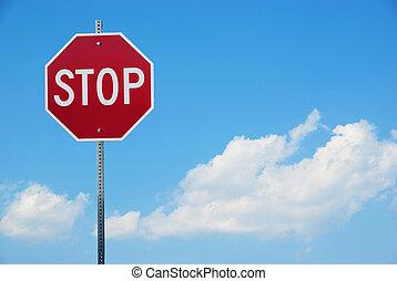 signe, contre, ciel bleu, trafic, arrêt